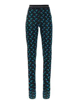 Marine Serre - Black And Blue Moon Print Leggings - Women