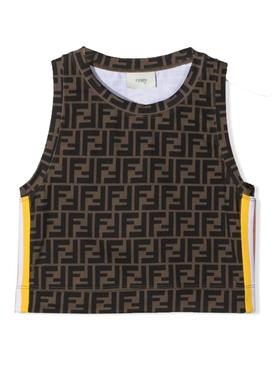 Kids FF Logo Stripe Tank Top, Brown