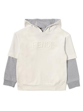 Kid's Faux 2-in-1 hoodie sweatshirt white