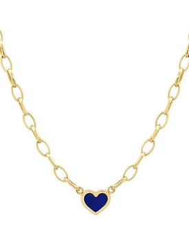 18K YELLOW GOLD SMALL EDITH LINK NECKLACE WITH LAPIS INLAY HEART