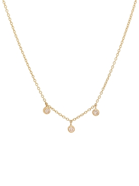 Three diamond mini bezel necklace