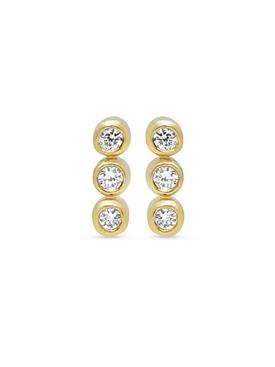 18K YELLOW GOLD AND DIAMOND 3 MINI BEZEL STUD EARRINGS