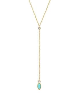 18K YELLOW GOLD DIAMOND BEZEL WITH TURQUOISE MARQUISE LARIAT NECKLACE