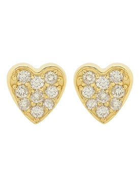 DIAMOND HEART STUD EARRINGS
