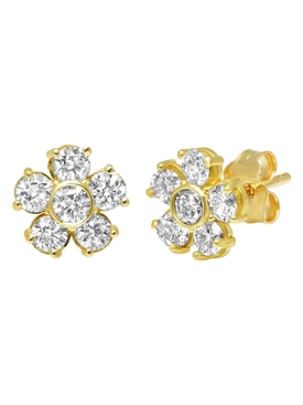 LARGE DIAMOND FLOWER STUDS