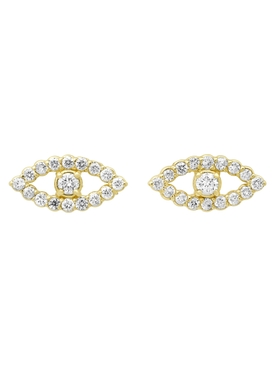 Mini open evil eye diamond stud earrings
