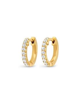 18K YELLOW SMALL GOLD DIAMOND HUGGIES
