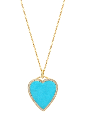 TURQUOISE INLAY HEART WITH DIAMONDS NECKLACE