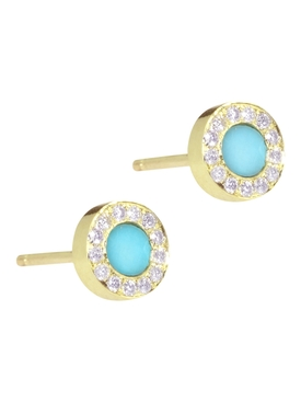 Turquoise and diamond circle stud earrings