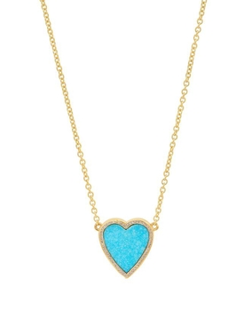 18K YELLOW GOLD MINI TURQUOISE INLAY HEART WITH DIAMOND SURROUND NECKLACE
