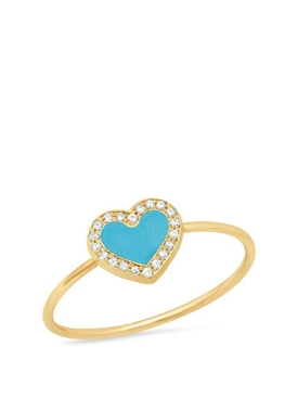 18K YELLOW GOLD EXTRA SMALL TURQUOISE AND DIAMOND INLAY HEART RING