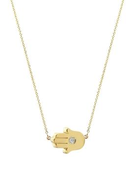 18K YELLOW GOLD MINI HAMSA NECKLACE WITH DIAMOND DETAIL