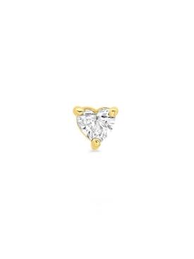18K YELLOW GOLD HEART-CUT SINGLE DIAMOND STUD