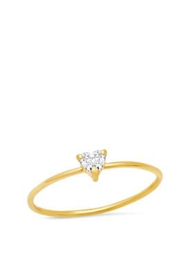 18K YELLOW GOLD PRONG-SET HEART-CUT DIAMOND RING