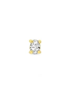 18K YELLOW GOLD OVAL-CUT SINGLE DIAMOND STUD