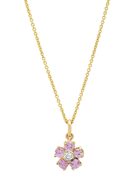 SAPPHIRE WITH DIAMOND CENTER LARGE FLOWER PENDANT NECKLACE