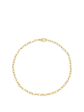 18K YELLOW GOLD EDITH SMALL LINK BRACELET WITH DIAMOND BEZEL ACCENT