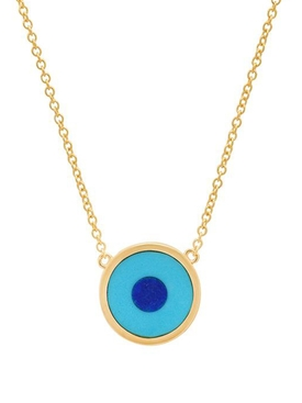18K YELLOW GOLD & TURQUOISE WITH LAPIS CENTER MINI EVIL EYE NECKLACE