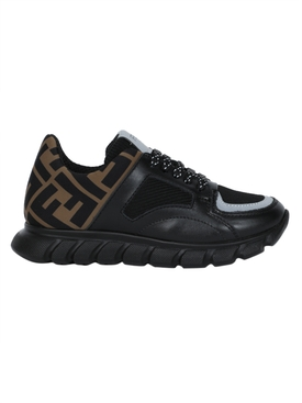 Fendi Kids - Kids Black And Brown Ff Logo Sneakers - Kids