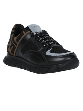Kids black and brown FF logo sneakers