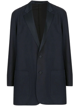 Navy Silk Long-line Blazer