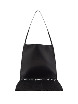 Black Border Fringe Tote Bag
