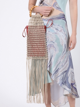 Knotted Bamboo Fringe Handbag LIGHT BEIGE