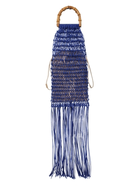 Jil Sander - Knotted Bamboo Fringe Handbag Bright Blue - Women