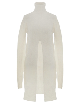 Ivory Angora wool slit sweater