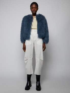 Cropped shearling jacket, turquoise