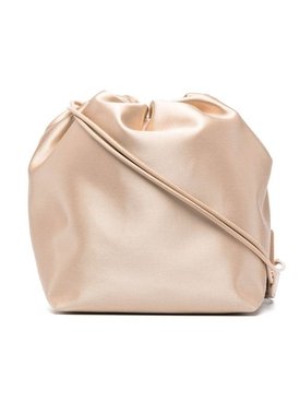 Small Satin Finish Bucket Bag, Light Beige