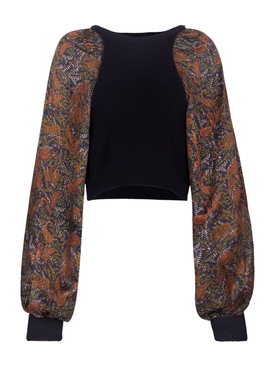 Contrasting paisley print jumper