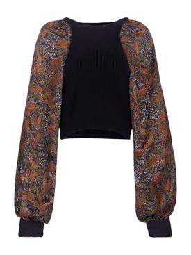Contrasting paisley print jumper