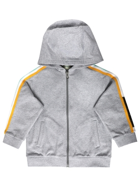 HOODED TRACK JACKET WITH RACER STRIP AND LOGO