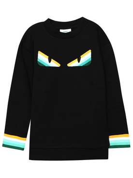 Kids Monster Eyes Knit Sweater, black