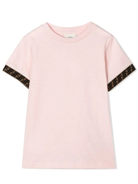 Kid's pink logo trim t-shirt