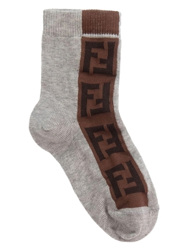 Kids grey and brown logo socks