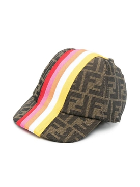 Kids FF Striped Logo Baseball Caps, BROWN AND GREEN