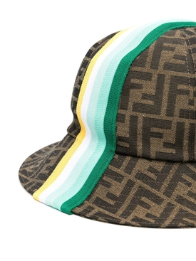 Kids FF Logo print bucket hat, Brown and Green