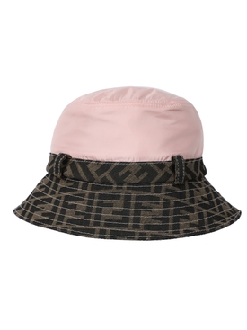 Kids pink and brown logo bucket hat