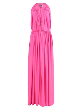 Bright pink asymmetric gown