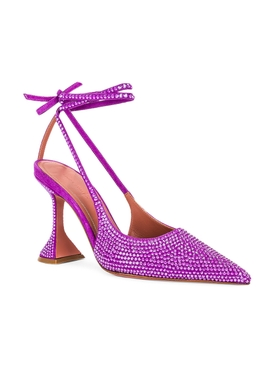 Crystal Lace-Up Sling-Back Pump VIOLET