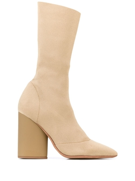 high-heel sock boot BROWN