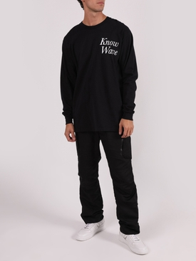 Black cotton long sleeve logo t-shirt