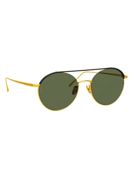 Green and gold-tone Dustin round sunglasses