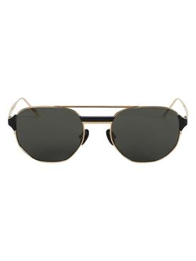 Nico Round Sunglasses, Light Gold & Black