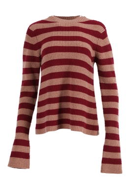 Anglet wool-cashmere Sweater BURGUNDY/CAMEL