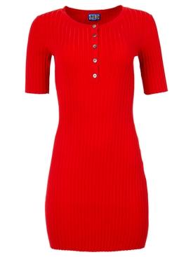 Samphire knit dress Red