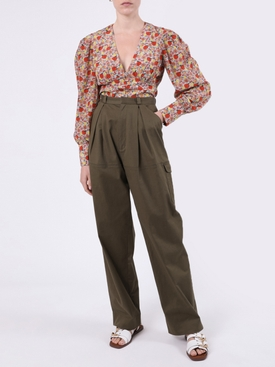 Coco Long-sleeve Silk Blouse FRUIT PRINT