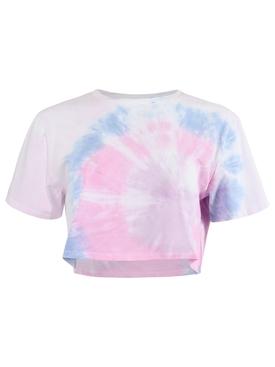 TIE-DYE JANIS CROP TEE Pink & Blue
